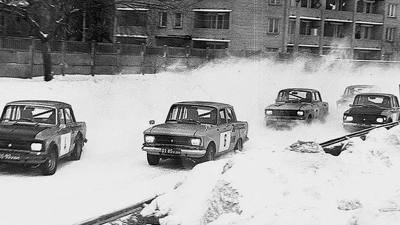 гонка на москвичах зимой
