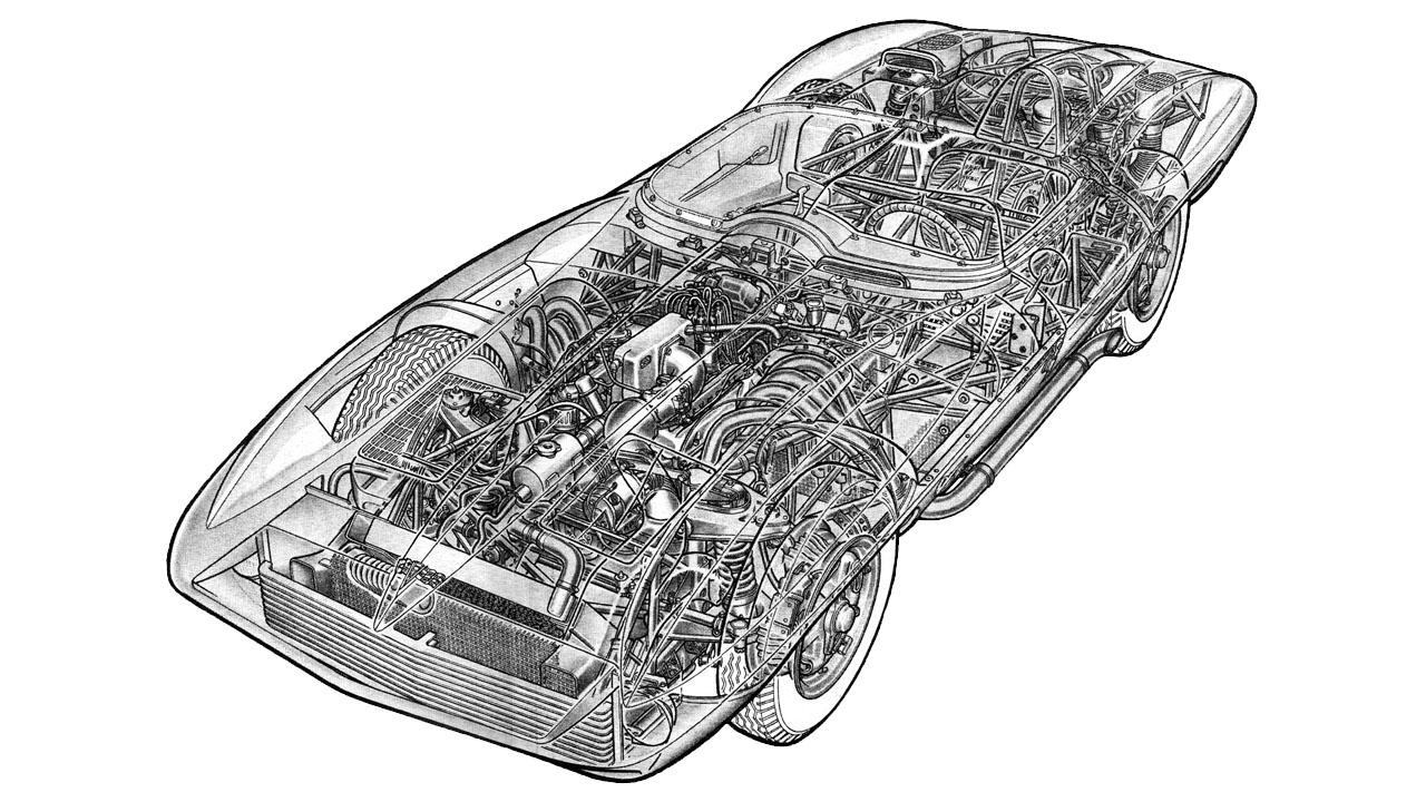 Схематический рисунок Корвет Стингрей