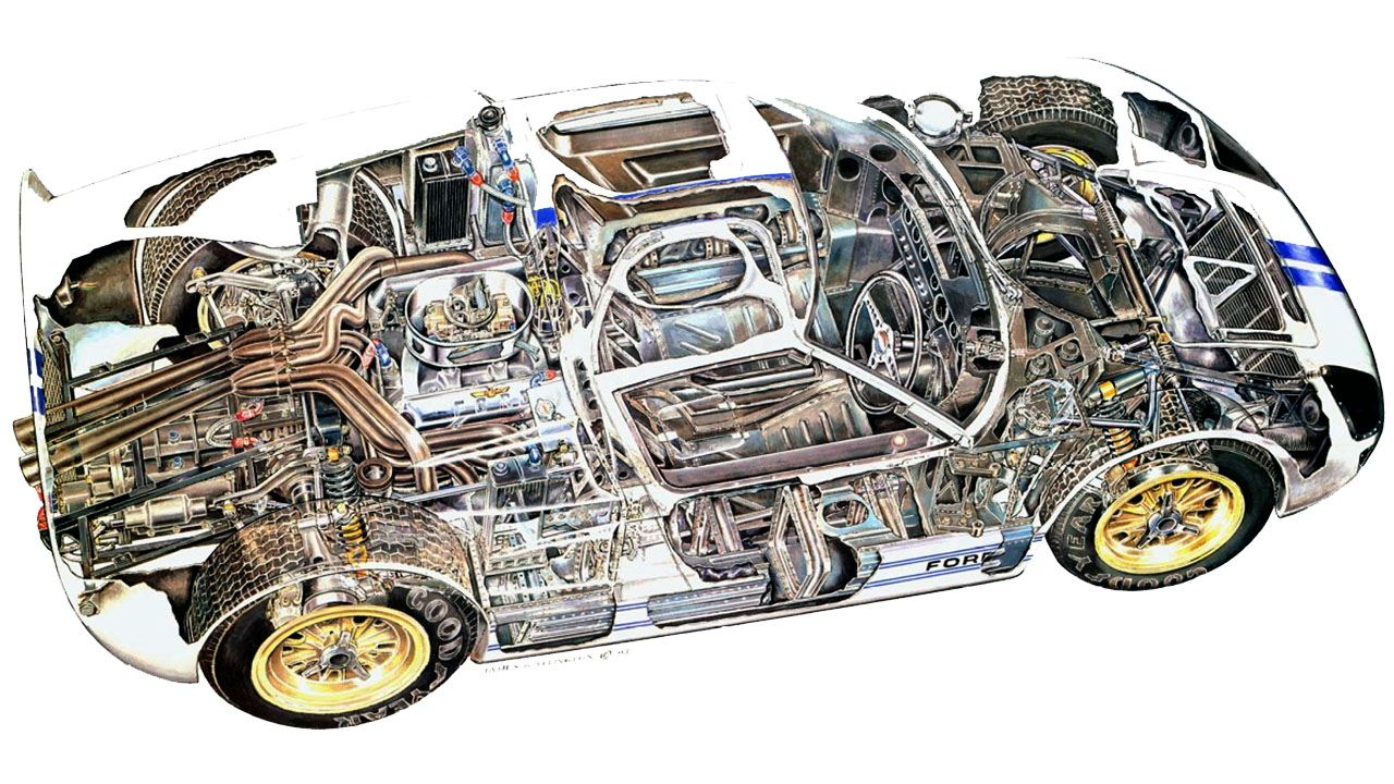 Схематический рисунок Ford GT40