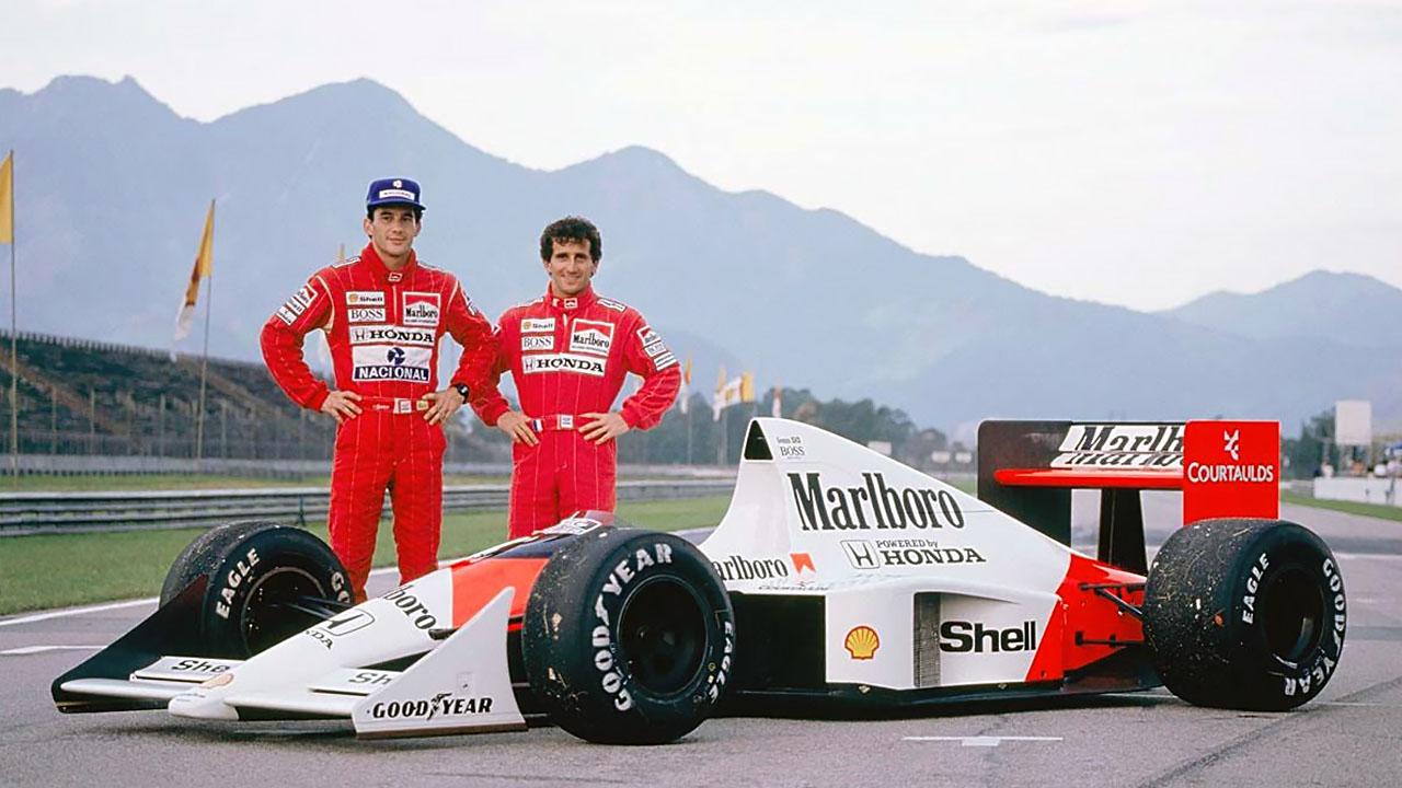 Сенна и Прост возле болида McLaren