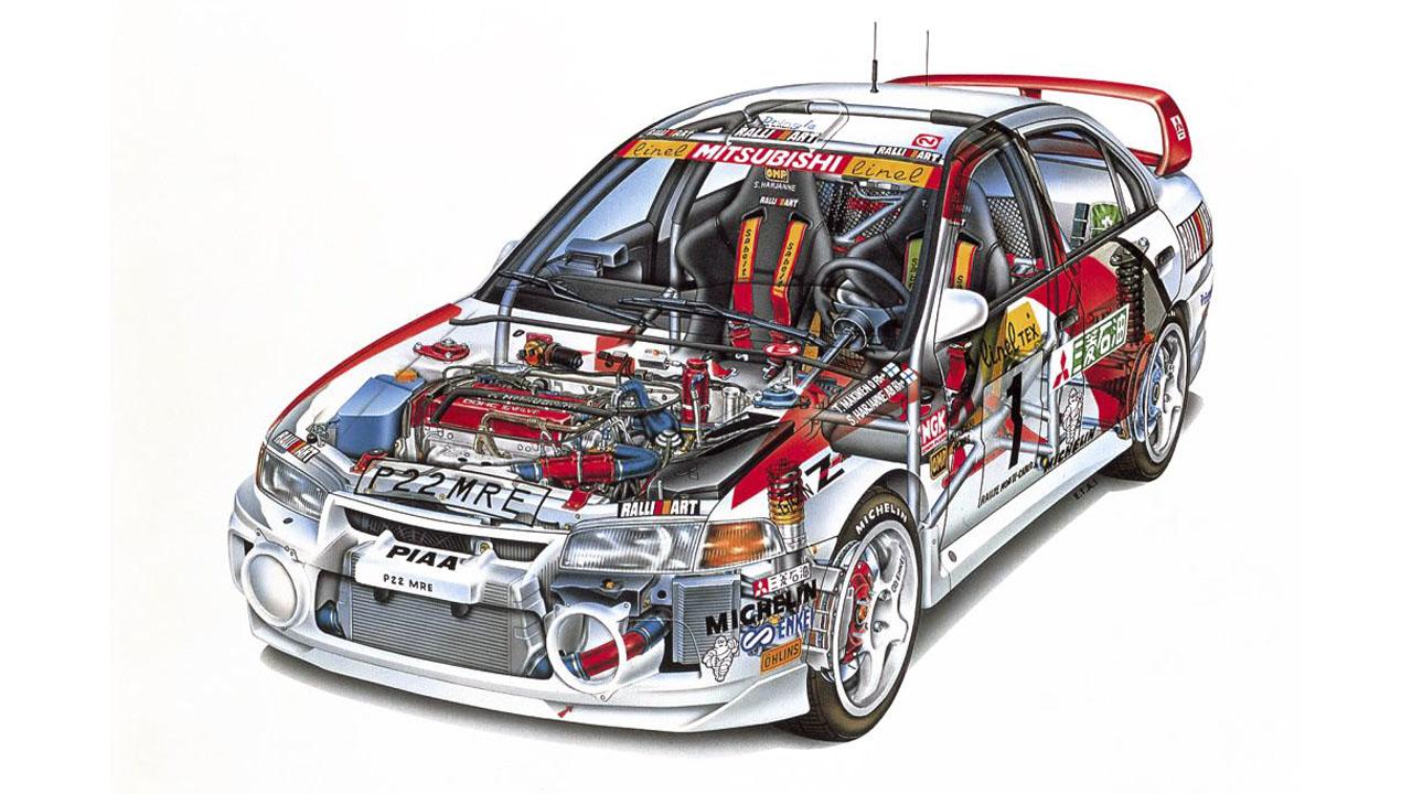 Схематический рисунок Mitsubishi Evo IV WRC 1997